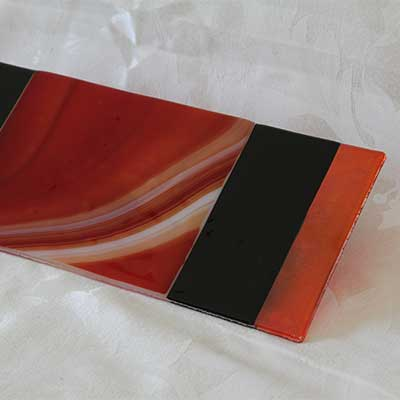 Red swirl cheese plate with end stripes alt